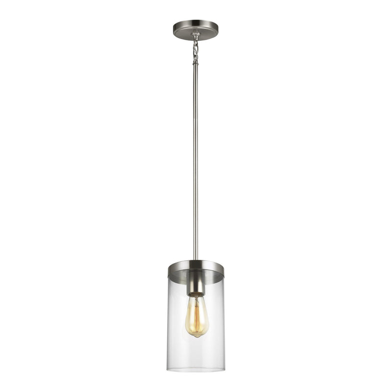 Generation Lighting 6590301-962 Sea Gull Zire 1 Light Pendant in Brushed Nickel