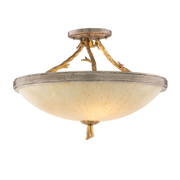 Corbett Lighting 66-33 Parc Royale 3lt Semi Flush in Hand-Worked Iron