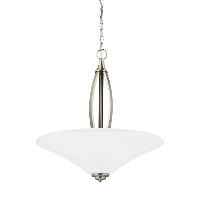 Generation Lighting 6613203EN3-962 Sea Gull Metcalf 3 Light Pendant in Brushed Nickel