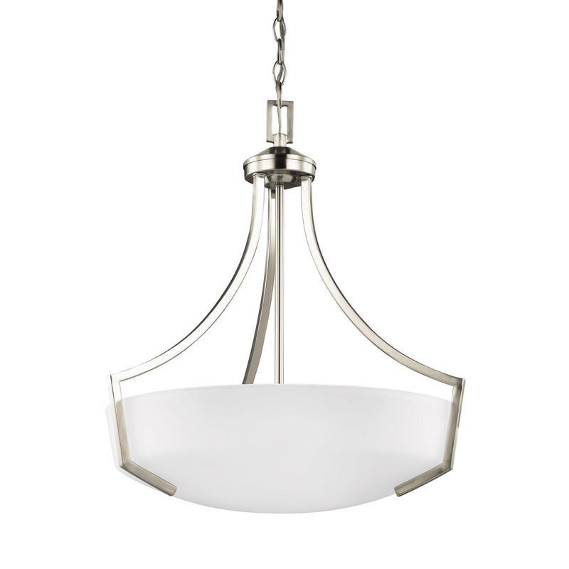Generation Lighting 6624503-962 Sea Gull Hanford 3 Light Pendant in Brushed Nickel