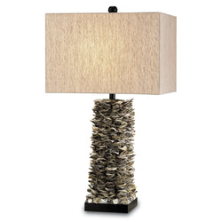 Currey and Company 6862 Villamare Table Lamp in Natural/Satin Black
