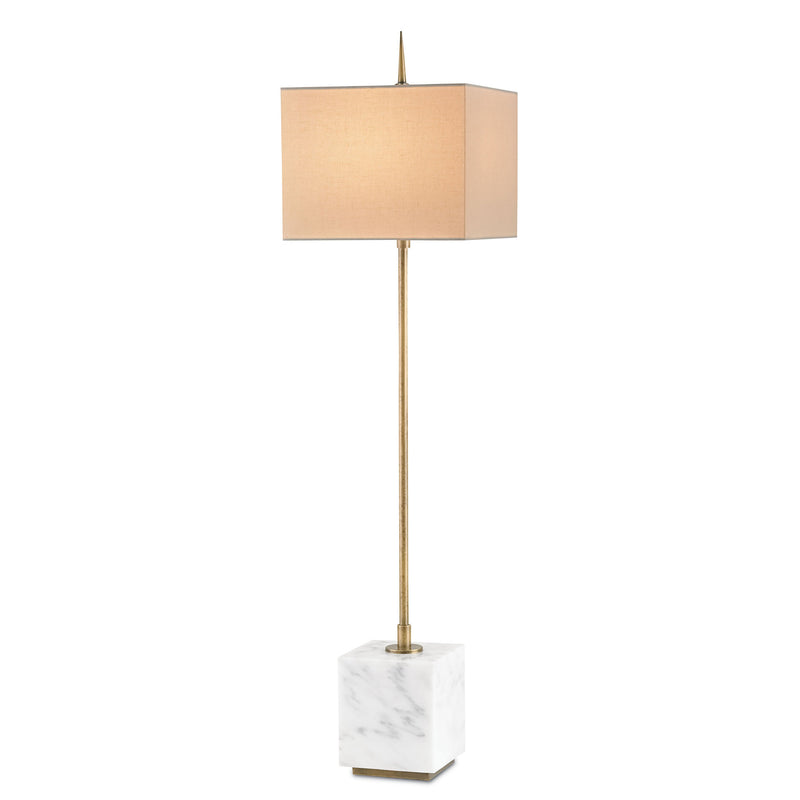 Currey and Company 6975 Thompson White Console Lamp in Brass/White