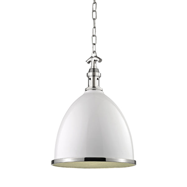 Hudson Valley Lighting 7714-WPN Viceroy 1 Light Small Pendant in White/Polished Nickel Combo