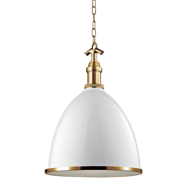 Hudson Valley Lighting 7718-WAGB Viceroy 1 Light Large Pendant in White/Aged Brass