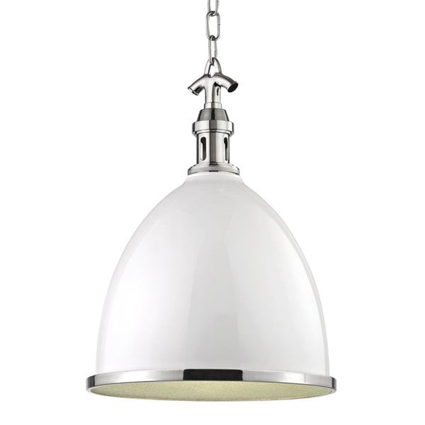 Hudson Valley Lighting 7718-WPN Viceroy 1 Light Large Pendant in White/Polished Nickel Combo