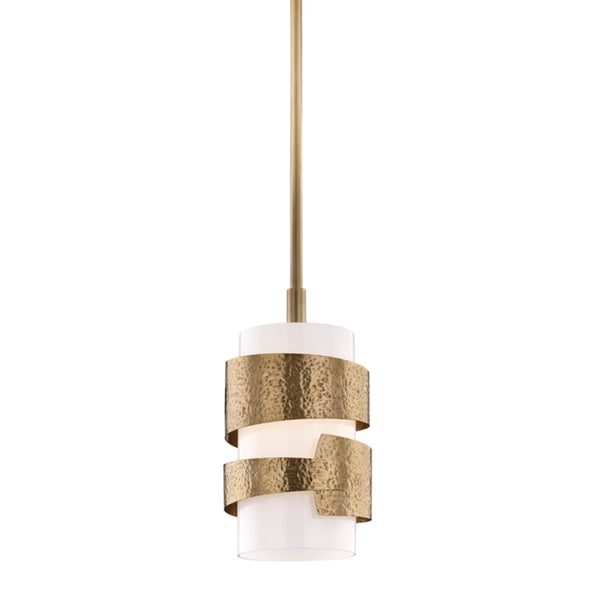 Hudson Valley Lighting 7808-AGB Lanford 1 Light Small Pendant in Aged Brass