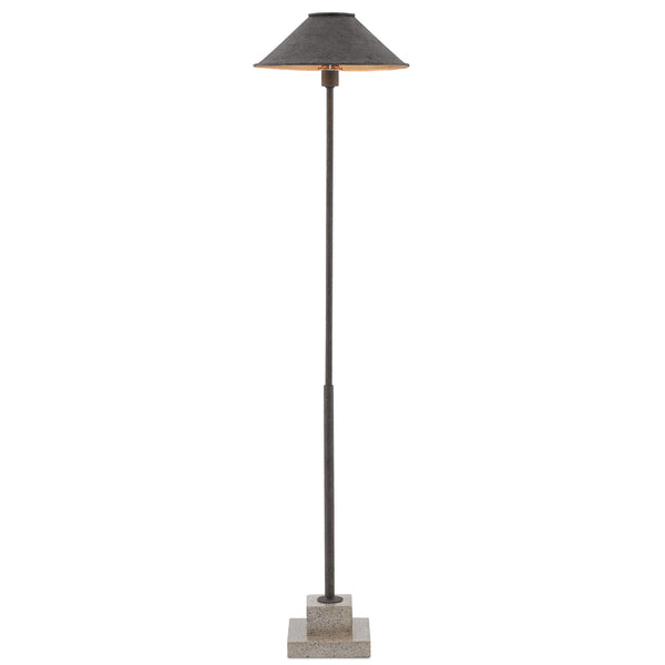 Currey and Company 8000-0016 Fudo Floor Lamp in Mole Black/Contemporary Gold Leaf/Polished Concrete