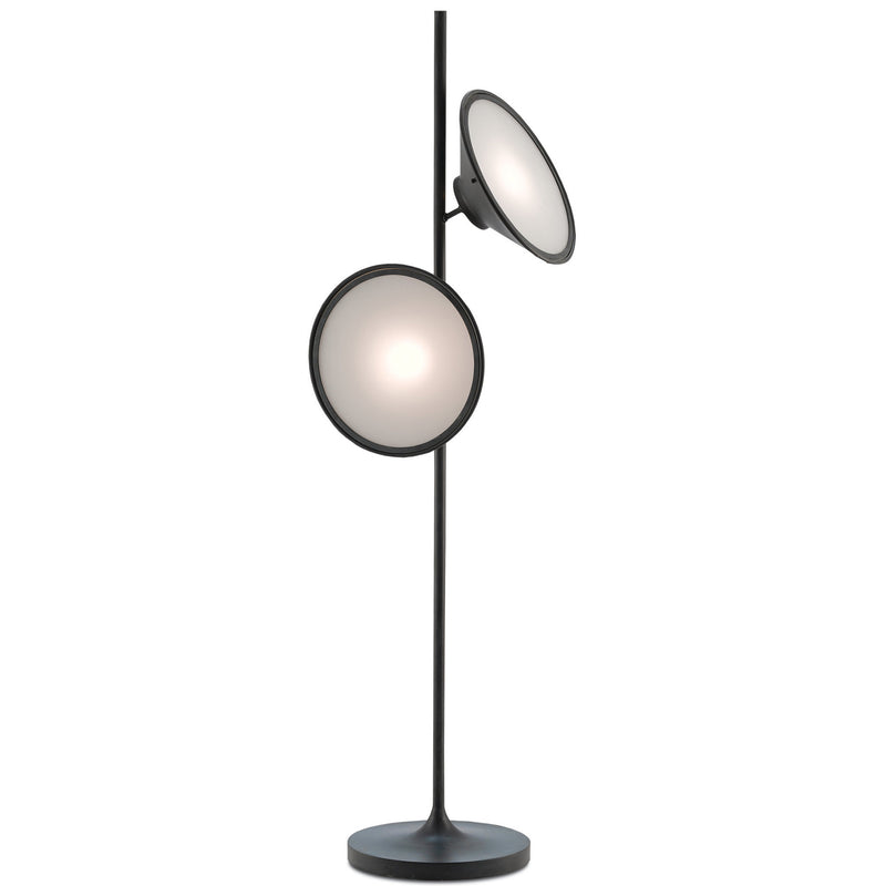 Currey and Company 8000-0018 Bulat Floor Lamp in Antique Black/White Opaque