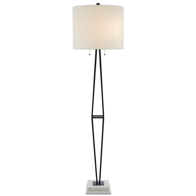 Currey and Company 8000-0044 Colton Floor Lamp in Painted Black/White