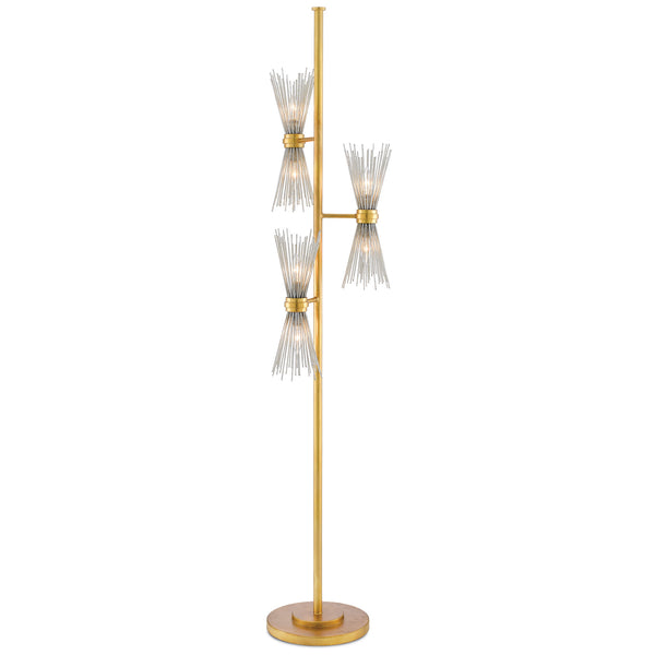 Currey and Company 8000-0046 Novatude Floor Lamp in Antique Gold Leaf/Contemporary Silver Leaf