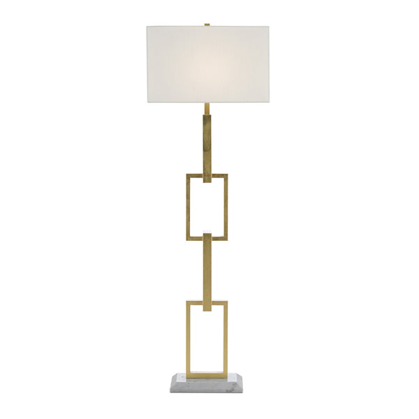 Currey and Company 8000-0064 Catena Floor Lamp in Gold Leaf/White