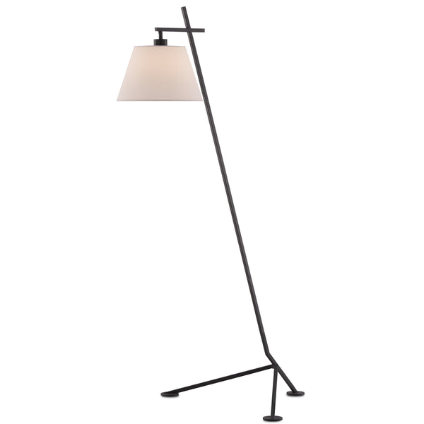 Currey and Company 8000-0066 Kiowa Floor Lamp in Satin Black