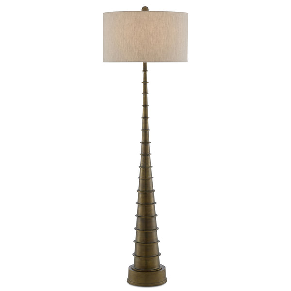 Currey and Company 8000-0068 Auger Floor Lamp in Antique Brass