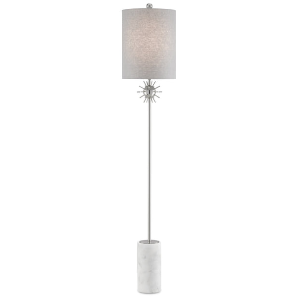Currey and Company 8000-0082 Sundrop Floor Lamp in Polished Nickel/White