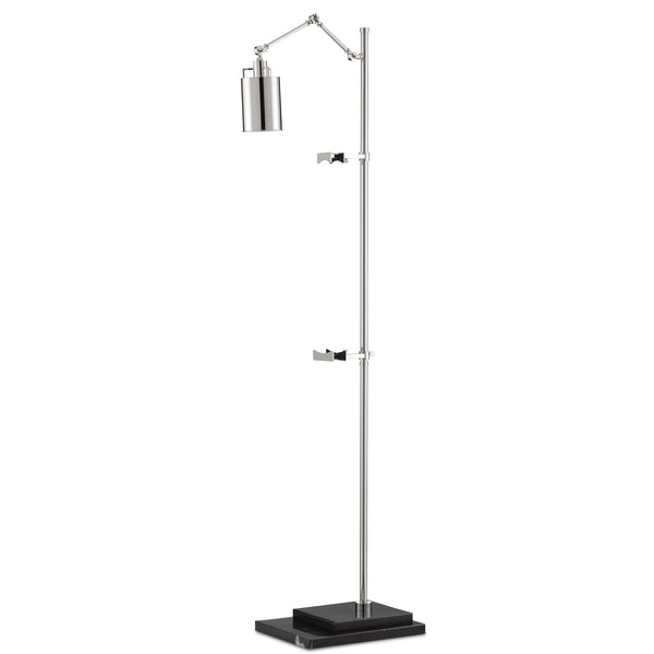Currey and Company 8000-0083 Strada Floor Lamp in Polished Nickel/Black