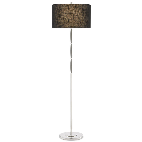 Currey and Company 8000-0086 Dashwood Nickel Floor Lamp in Gray/Brushed Nickel