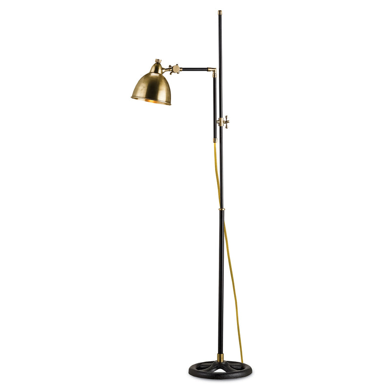 Currey and Company 8051 Drayton Floor Lamp in Vintage Brass/Black