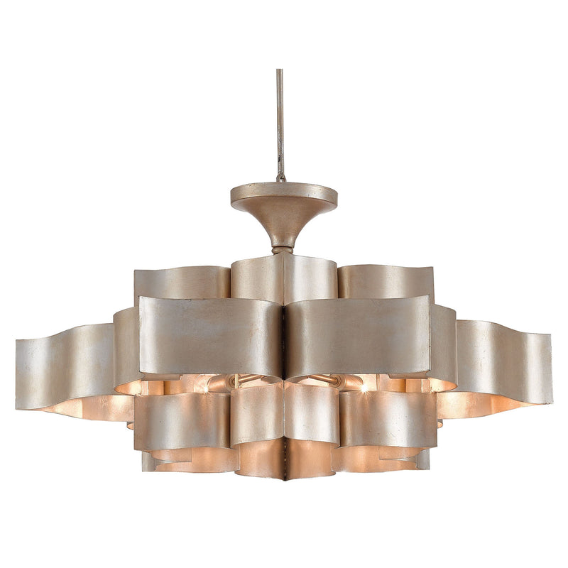 Currey and Company 9000-0051 Grand Lotus Silver Large Chandelier in Contemporary Silver Leaf