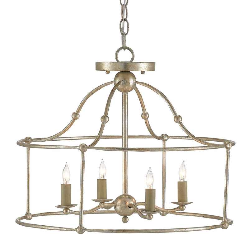 Currey and Company 9000-0052 Fitzjames Silver Small Lantern in Silver Granello