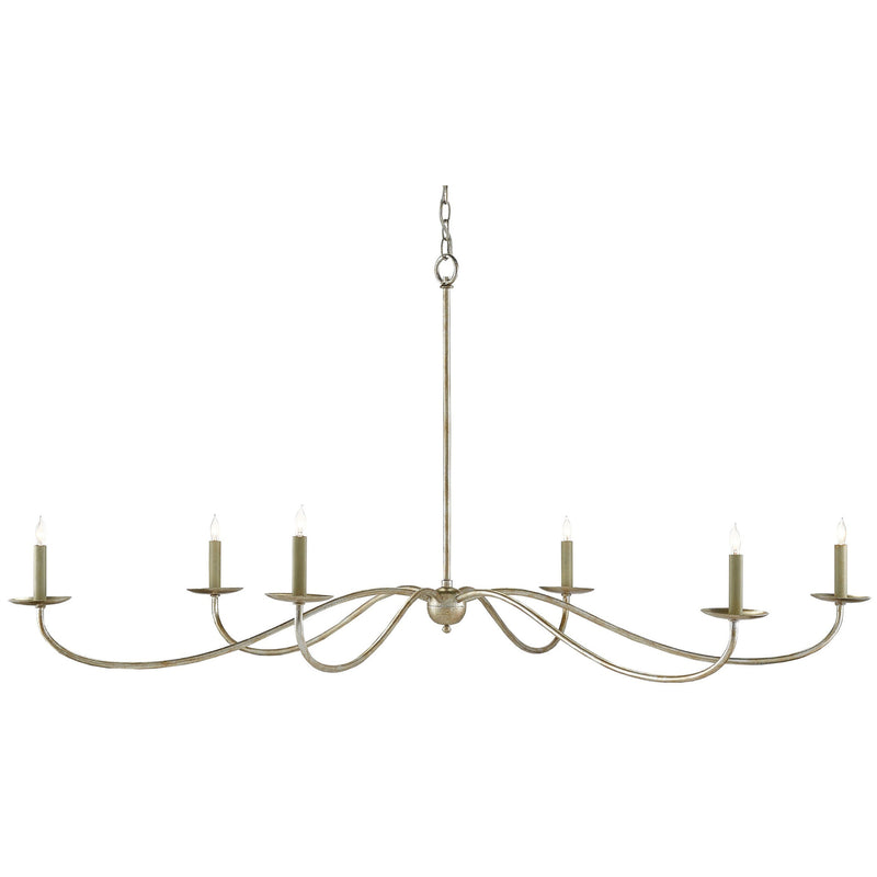 Currey and Company 9000-0055 Saxon Silver Chandelier in Silver Granello