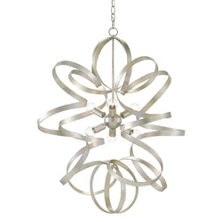 Currey and Company 9000-0109 Lasso Chandelier in Silver Leaf