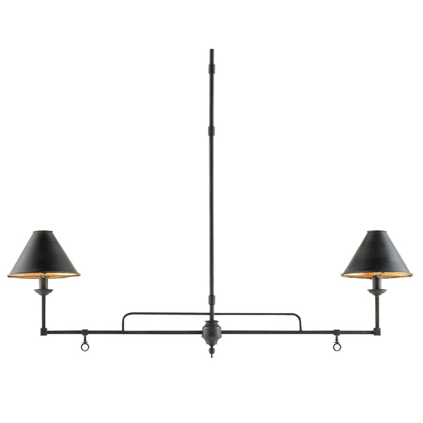 Currey and Company 9000-0114 Prosperity Rectangular Chandelier in French Black/Contemporary Gold Leaf Interior