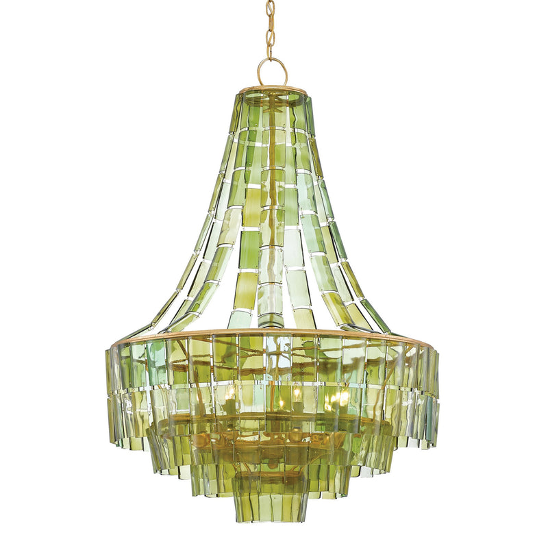 Currey and Company 9000-0147 Vintner Chandelier in Dark Contemporary Gold Leaf/Green