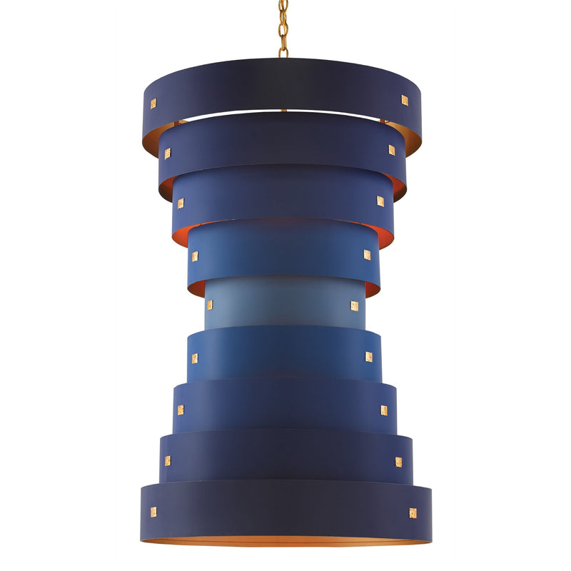 Currey and Company 9000-0155 Hiroshi Koshitaka Collection Graduation Large Chandelier in Blue/Contemporary Gold Leaf/New Gold Leaf