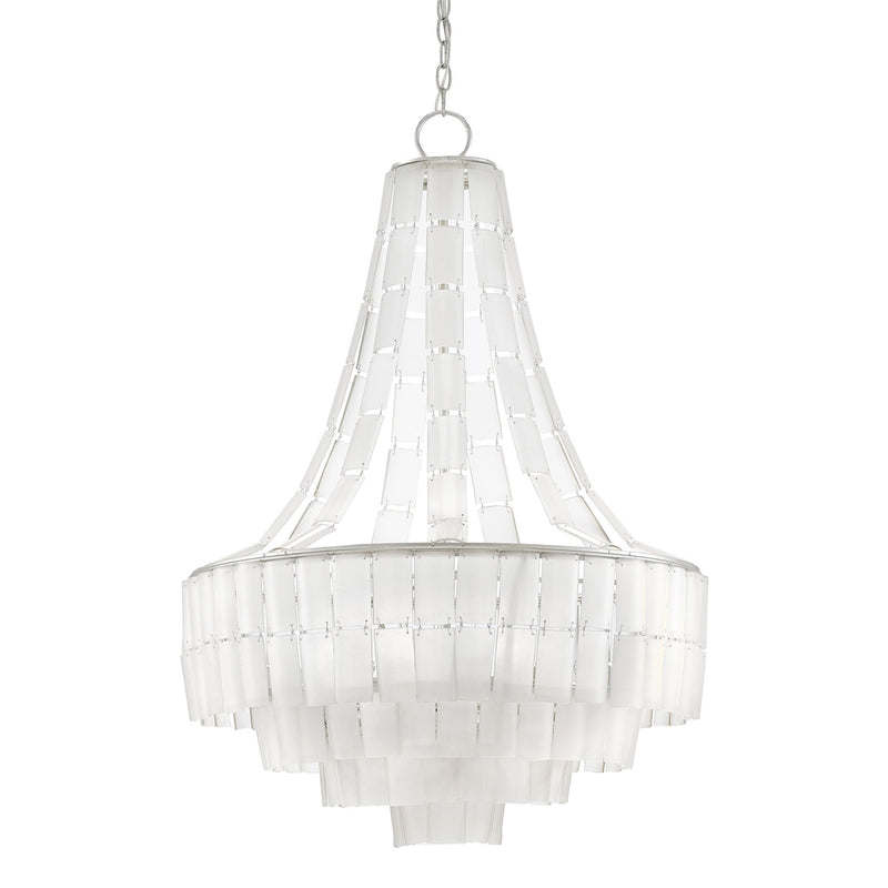 Currey and Company 9000-0159 Vintner Blanc Chandelier in Contemporary Silver Leaf/Opaque White