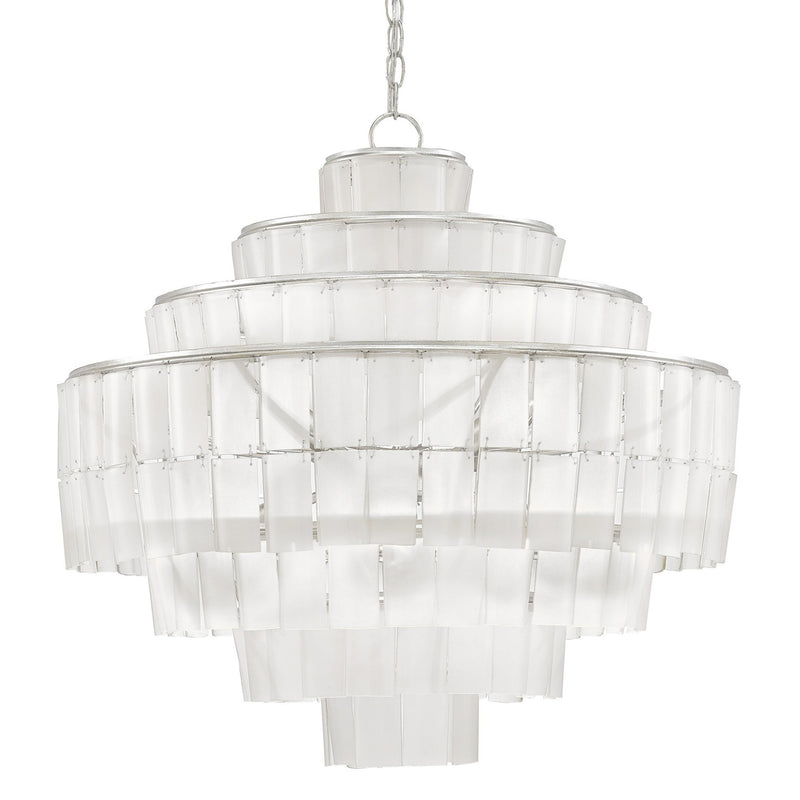 Currey and Company 9000-0160 Sommelier Blanc Chandelier in Contemporary Silver Leaf/Opaque White