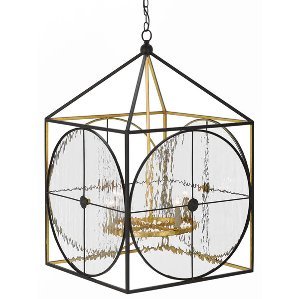 Currey and Company 9000-0205 Sagamore Lantern in Satin Black/Contemporary Gold