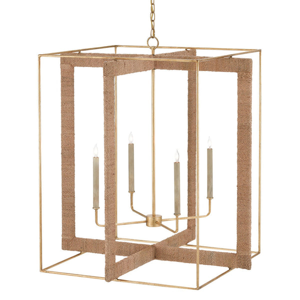 Currey and Company 9000-0217 Purebred Large Lantern in Contemporary Gold Leaf/Natural