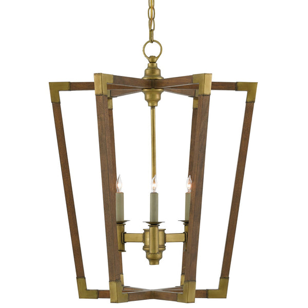 Currey and Company 9000-0220 Bastian Medium Lantern in Chestnut/Brass