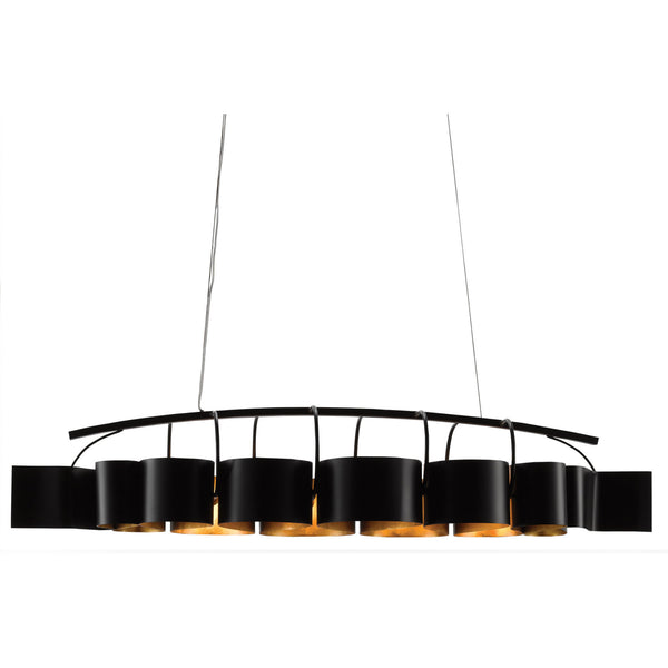 Currey and Company 9000-0262 Marchfield Rectangular Chandelier in Satin Black/Contemporary Gold Leaf