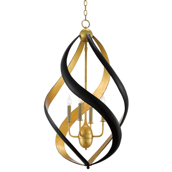 Currey and Company 9000-0321 Trephine Chandelier in Contemporary Gold Leaf/Satin Black
