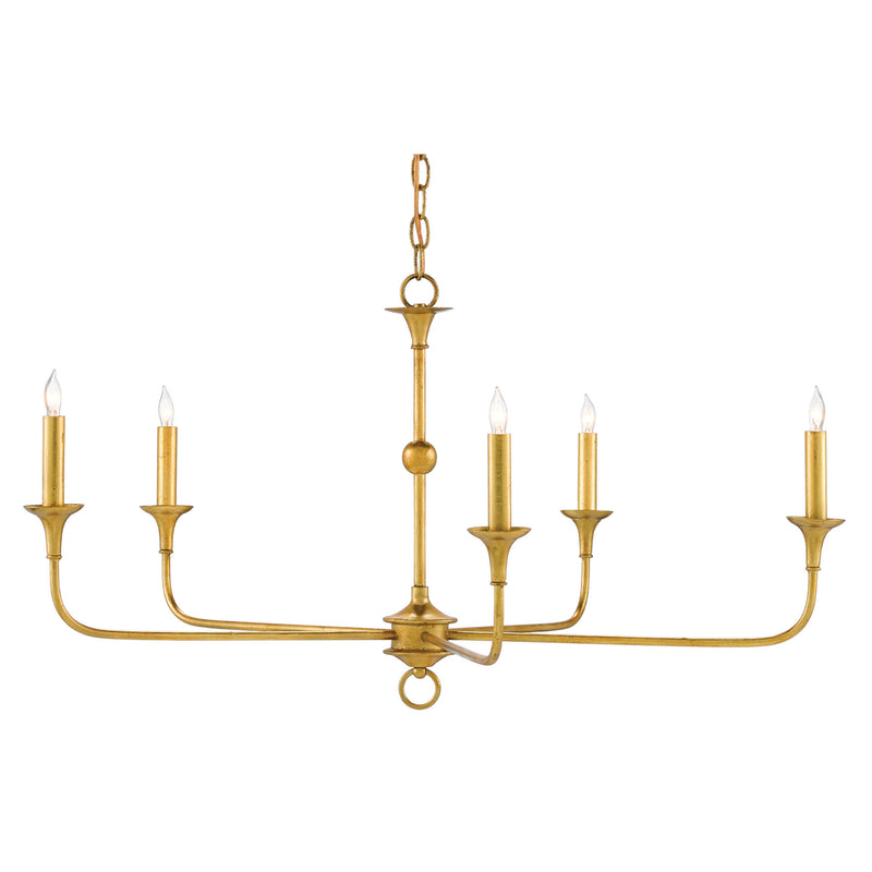 Currey and Company 9000-0369 Nottaway Gold Small Chandelier in Contemporary Gold Leaf
