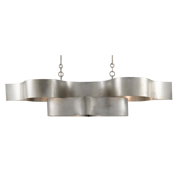 Currey and Company 9000-0372 Grand Lotus Silver Oval Chandelier in Contemporary Silver Leaf