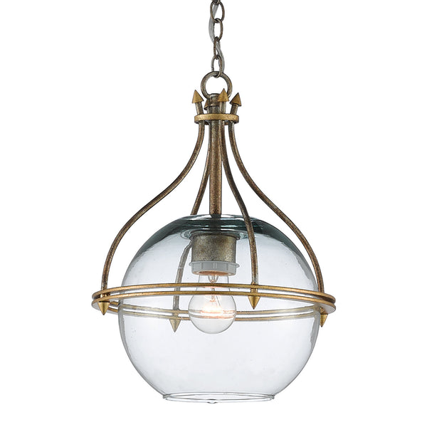 Currey and Company 9000-0382 Foyle Pendant in Antique Silver Leaf/Contemporary Gold Leaf