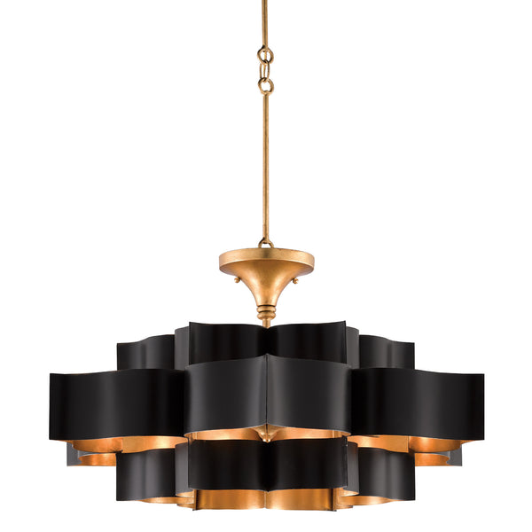 Currey and Company 9000-0429 Grand Lotus Black Large Chandelier in Satin Black/Contemporary Gold Leaf