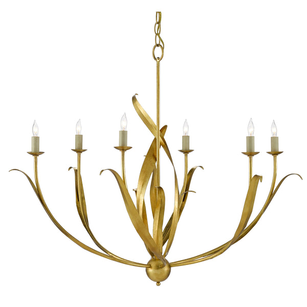 Currey and Company 9000-0444 Menefee Chandelier in Antique Gold Leaf