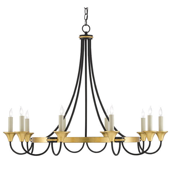 Currey and Company 9000-0474 Hanlon Chandelier in Washed Black/Contemporary Gold Leaf