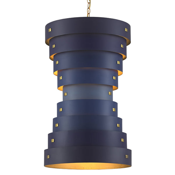Currey and Company 9000-0499 Hiroshi Koshitaka Collection Graduation Small Chandelier in Blue/Contemporary Gold Leaf/New Gold Leaf