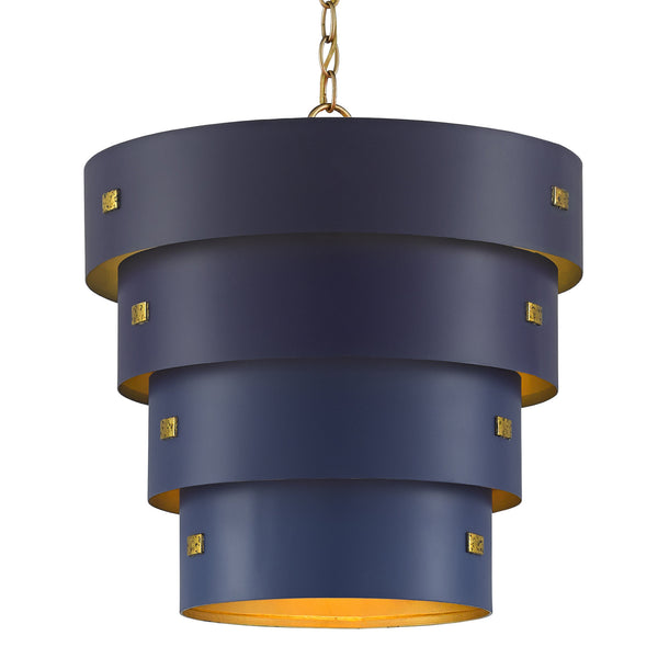 Currey and Company 9000-0500 Hiroshi Koshitaka Collection Graduation Pendant in Blue/Contemporary Gold Leaf/New Gold Leaf