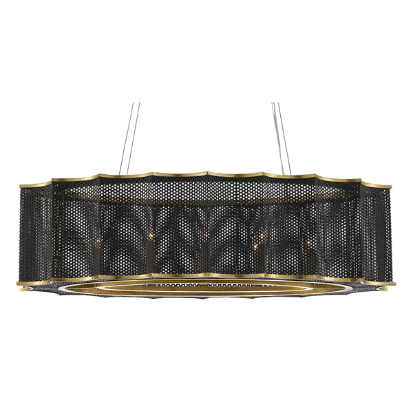 Currey and Company 9000-0512 Nightwood Chandelier in Mole Black/Contemporary Gold Leaf