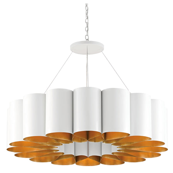 Currey and Company 9000-0513 Chauveau Chandelier in Pearl White/Contemporary Gold Leaf