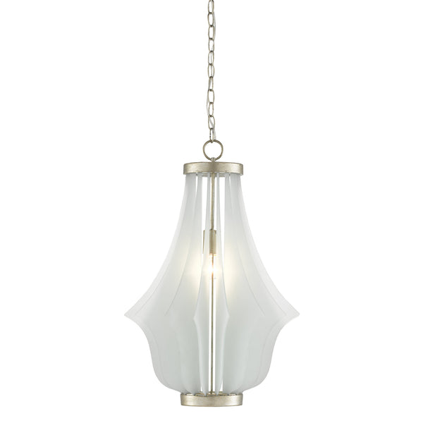 Currey and Company 9000-0522 Palonaise Pendant in Contemporary Silver Leaf/Seaglass