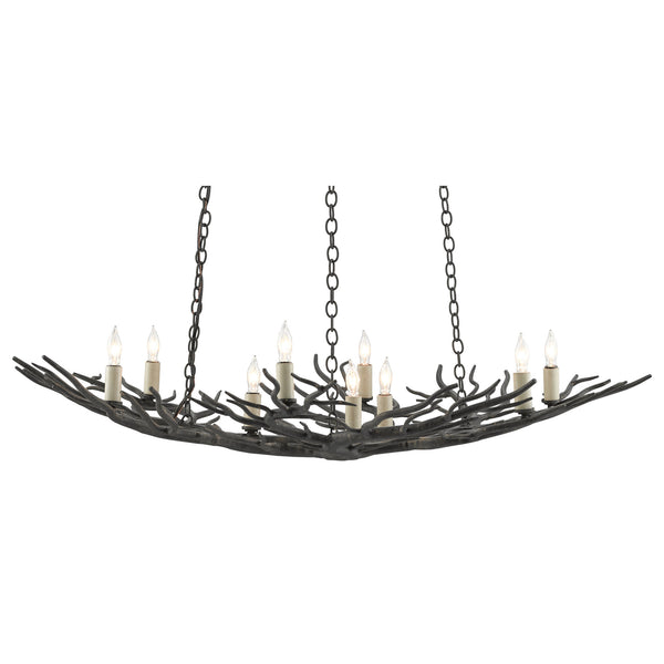 Currey and Company 9000-0555 Rainforest Bronze Small Chandelier in Rustic Bronze
