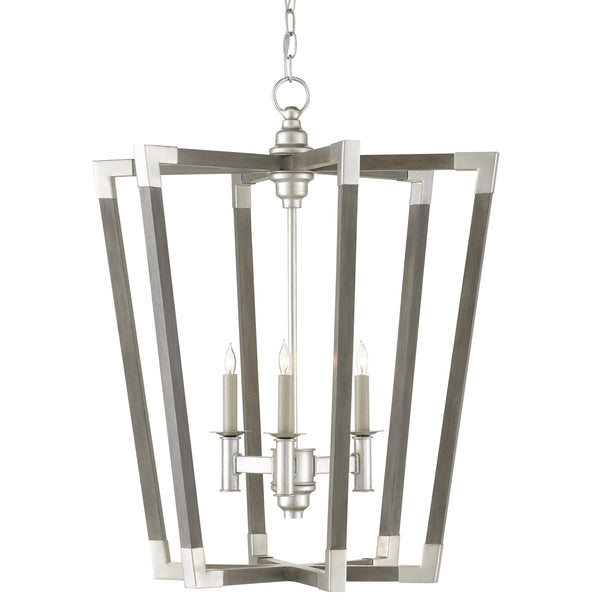 Currey and Company 9000-0605 Bastian Small Gray Chandelier in Chateau Gray/Contemporary Silver Leaf