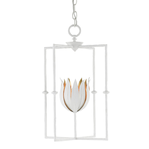 Currey and Company 9000-0630 Tulipano Lantern in Gesso White/Contemporary Gold Leaf