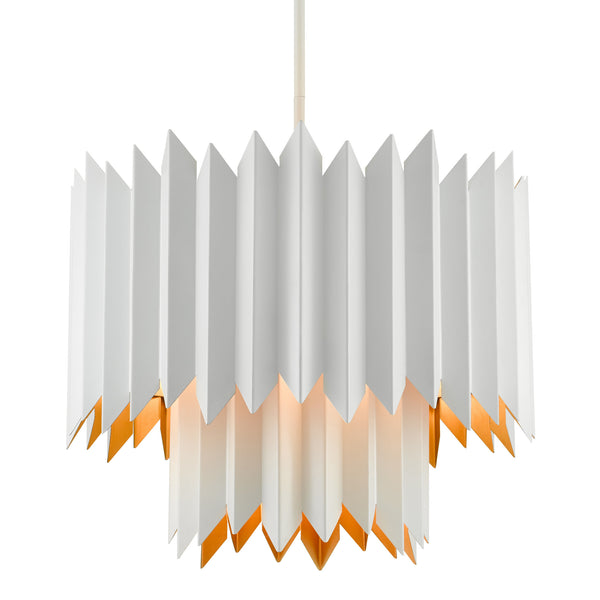 Currey and Company 9000-0632 Syrie Chandelier in Sugar White/Painted Contemporary Gold